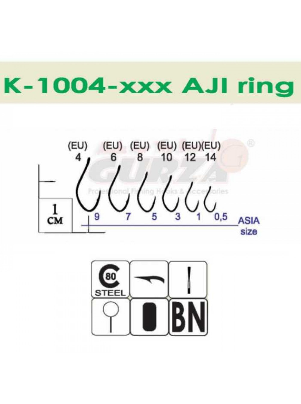 Крючки Gurza - AJI Ring BN #8 10 шт/уп.