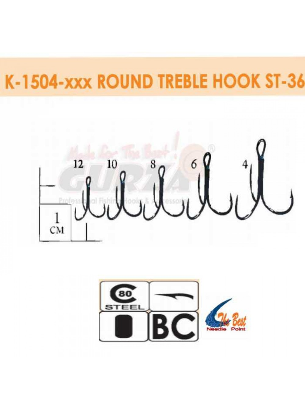 Крючки Gurza - Round treble hook ST -36  №12 BC 25шт./уп. (Dia. Wire 0,76 mm)